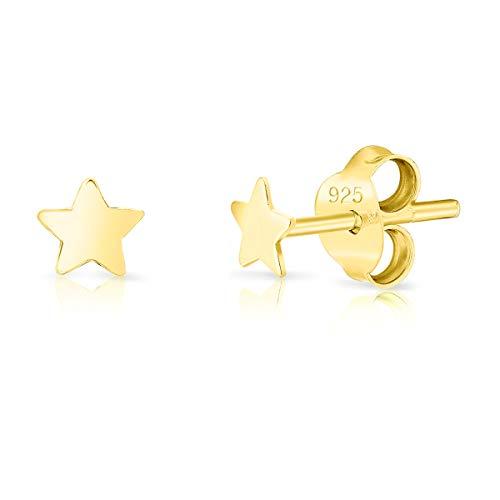 DTPsilver Aretes/Pendientes Pequeños de Plata de Ley 925 Chapado en Oro Amarillo - Estrella pequeña - Diámetro: 4 mm