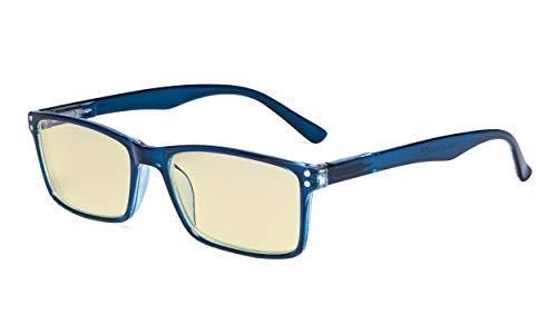 Eyekepper Computer Brille - Blaulichtblockierende Lesebrille mit gelber Filtergläser - Stylische Lesebrille - Blau