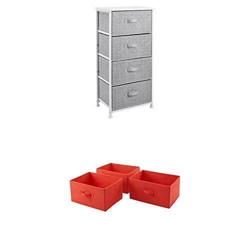Amazon Basics - Aufbewahrungsschrank für Kleiderschränke, mit 4 Stoff-Schubladen, Weiß + Ersatzschubladen aus Stoff für einen Aufbewahrungsschrank mit 4 Schubladen, Rot