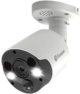 Swann Wired PIR Bullet Security Camera & Spotlight, 4K Ultra HD Surveillance Cam w/Color Night Vision, Indoor/Outdoor, Thermal, Heat & Motion Sensing, 2 Way Talk/Siren, Add NVR w/PoE, SWNHD-885MSFB
