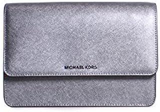 Michael Kors Daniela Saffiano Leather Large Gusset Crossbody Handbag in Light Pewter