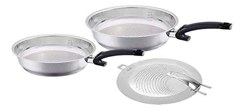 Fissler crispy steelux comfort Frypan Set with Splatter Screen Stainless Steel Uncoated Induction, 10, 12-Inch