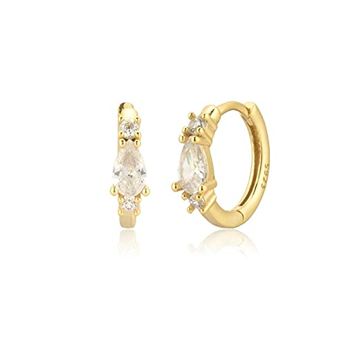 Plata de ley 925, oro, azul, 9 mm, pinzas para perforar, aros, joyería de cristal de lujo a la moda para mujer, punk rock