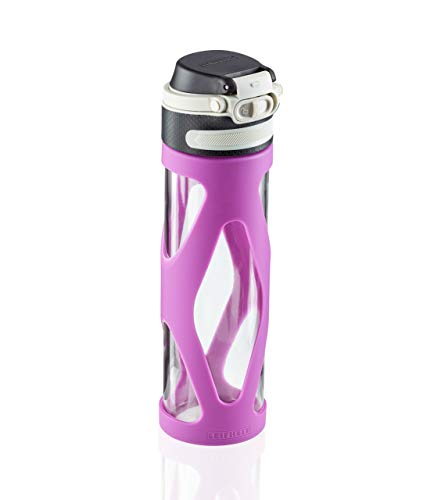Leifheit Botella de cristal Flip de 600 ml, botella reutilizable 100% hermética, se abre con una mano, botella deportiva sin BPA, con filtro, morado
