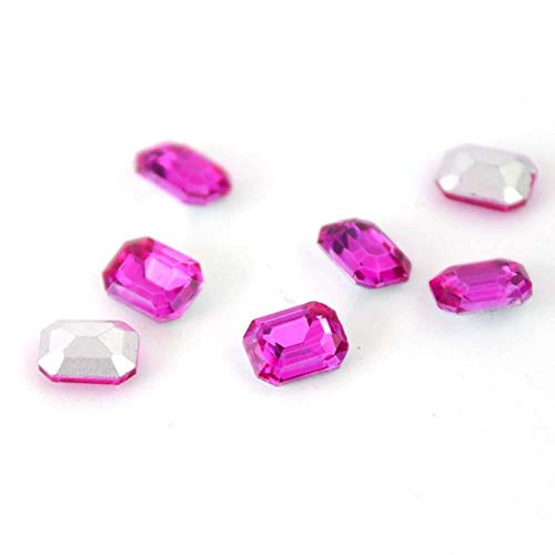 Gouen 20Pcs Mix Crystal Nail Art Rhinestones Gold Octagon Stones Gem for Nail Art Charms 3D Decoration Manicure,Hot Pink