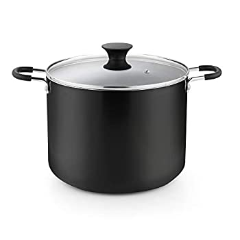 Cook N Home Cookware Nonstick Stockpot with Lid 10.5-Qt Black