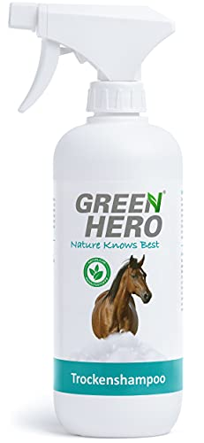 Green Hero Trockenshampoo-Spray für Pferde 500 ml natürliches Pferdetrockenshampoo zur Reinigung, gegen Verschmutzungen und entfernt Schmutz Schnelltrocknend - Perfekt für die schnelle Reinigung