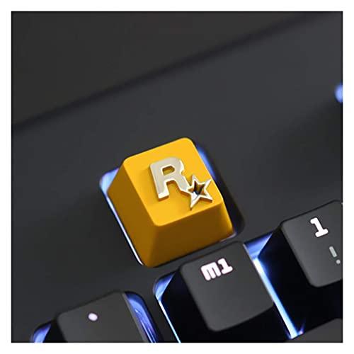 F-Mingnian-rsg Partes del Teclado keycap 1pc Keycap Personalizado en Relieve Aleación de Zinc Keycap para Juego Teclado mecánico High-End Unique DIY for E (Color: Rockstar Games)