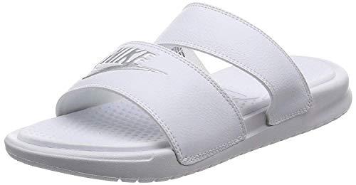 Nike Women's Benassi Duo Ultra Slide Sandals (11, White/Metallic Silver)