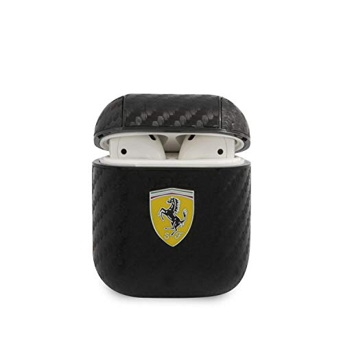 CG MOBILE Ferrari Schutzhülle für Airpods 1/2, Polycarbonat, Carbon, Gelb, schwarz, FESA2CABK