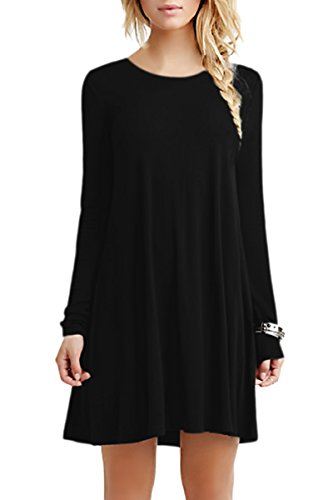 OMZIN Damen Casual Flowy Cotton Minikleid Shirt Dress Herbst Dress Black XL