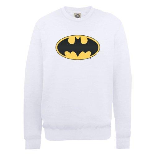 DC Comic Dc0000566 Dc Comics Official Batman Logo - Sweat-shirt - Homme, Blanc, Medium