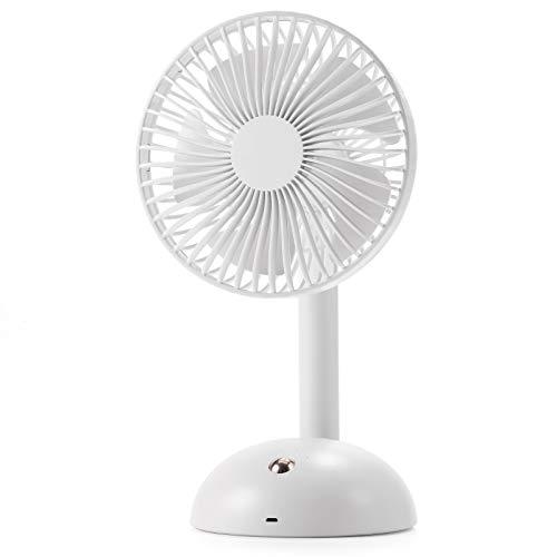 LonFine 卓上扇風機 扇風機 卓上 強力 4段階風量調整 USB ファン 静音 5枚羽根 パワフル送風 リズム風 充電式 熱中症に対策 (ホワイト)