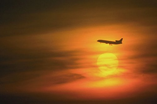 781023 Passenger Jet At Sunset On Route To Frankfurt Germany A4 Photo Poster Print 10x8