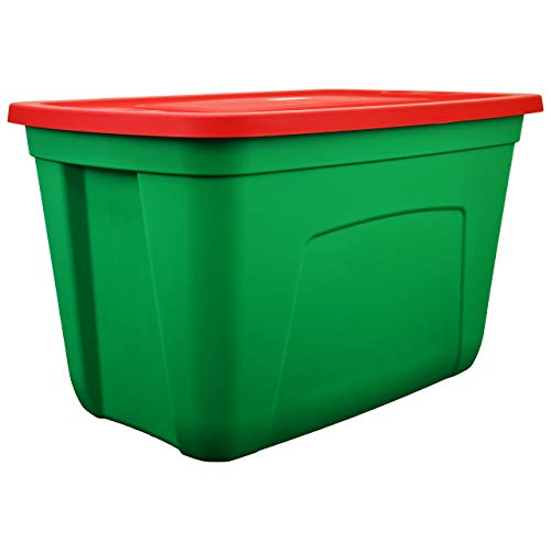 SimplyKleen 18-Gallon Christmas Plastic Storage Containers with Lids, Red/Green (Pack of 4)
