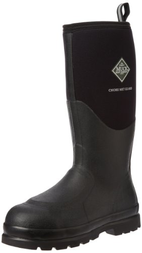 Muck Chore Classic Tall Steel Toe Men's Rubber Work Boots with Metatarsal Guard, Black, 11 M US