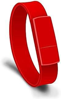 QGT USB Flash Drives 16GB USB 2.0 Fashion Bracelet Wristband U Disk (Black) (Color : Red)