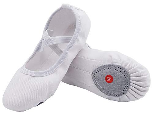 Nzcm Leinwand Ballettschuhe Mädchen mit Geteilter Ledersohle Flache Verstellbar Ballett Schläppchen Kinder Leicht Weich Ballerinas Tanz Gymnastik Schuhe Weiß Gr.24