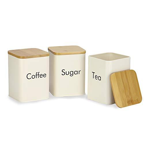 Juego de botes de cocina | Latas de Té, Café y Azúcar | Juego de tarros de cocina con tapas de bambú | Botes de conserva de alimentos | M&W (3 Piezas)