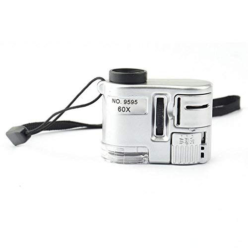 KEKEYANG Joyería Mini Lente 60X Lupa microscopio de Bolsillo LED Luz Ultravioleta Educación Foco Ajustable Lupa de Cristal Detector de Billetes Lupa