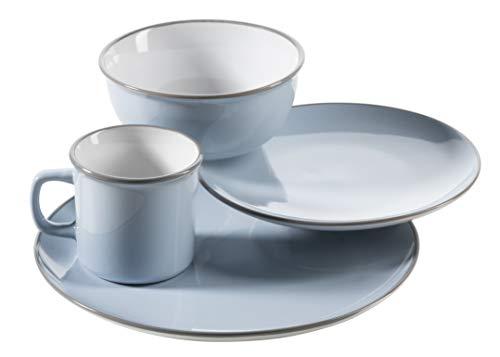 Mäser Maila – Vajilla de cerámica, diseño vintage, piedra, Juego único de color azul claro, Single-Set