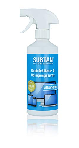 SUBTAN blue - Aerosol desinfectante y limpiador (500 ml, para smartphone, tablet, pantalla táctil, teclado y ratón, desinfecta sin alcohol y limpia superficies de dispositivos informáticos, calidad original de SUBTAN)