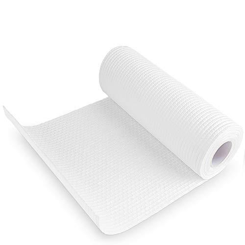 HPDUNO Rollos de cocina reutilizables, toalla de cocina desechable, toalla de limpieza de cocina ecológica, multiusos, fuerte, absorbente, suave, lavable, 50 hojas por rollo (blanco, 1 rollo)