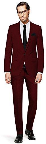 PABLO CASSINI Herren Anzug Fine Art - 3 teilig - Bordeaux Rot Smoking Ein-Knopf Hochzeit Business PCS_6 (46)