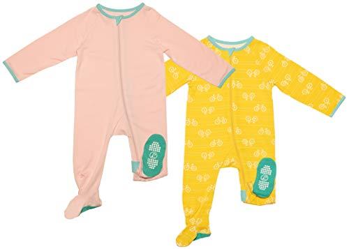 Lark Adventurewear: Premium Bamboo Zip Sleeper Set - No Slip Toddler Footie Pajamas   Pinky Peony & Sunshine Bikes - 2T Set