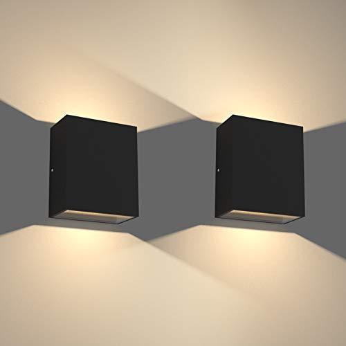 Klighten 2 Piezas 12W Apliques de Pared LED Interior/Exterior Impermeable IP65 Arriba y Abajo Lampara de Pared Moderno de Aluminio para Entrada Balcón Pasillo, Blanco CáLido 2700-3000K, Negro