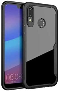 Plus Bumper Case with Clear Back Hard Panel Protective Case Cover for Samsung Galaxy M20 (Black)