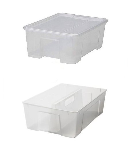 Ikea Samla - Caja de plástico con tapa (28 x 39 x 14 cm, 11 litros)