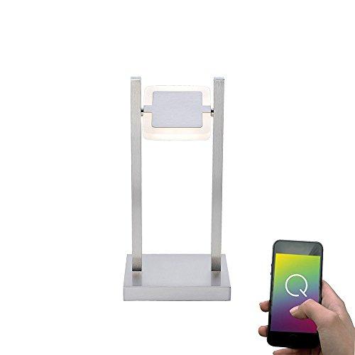 Paul Neuhaus, Q-Vidal, LED-tafellamp, dimbaar met afstandsbediening, Alexa-geschikt, Smart Home, tafellamp, RGB-kleurverandering, warmwit, bureaulamp, draaibaar, staal