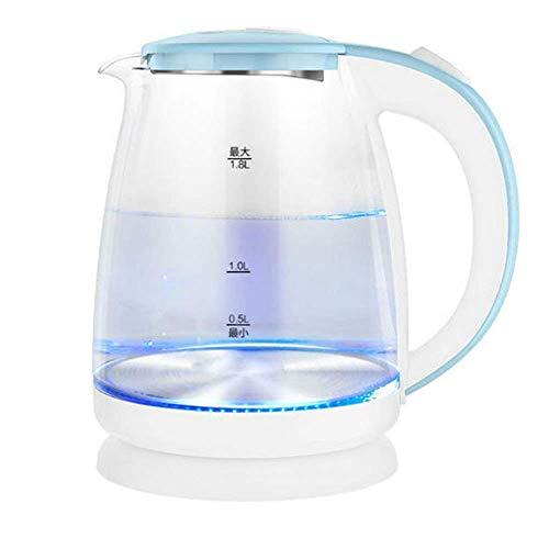 Hervidor eléctrico de vidrio ecológico, hervidor de agua inalámbrico de 1,8 l con LED azul iluminado, hervidor de agua para té de hervido rápido, apagado automático y protección para hervir y secar,