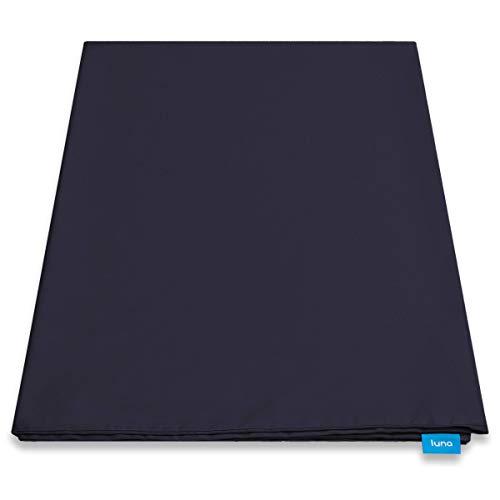 LUNA Funda de edredón extraíble para manta pesada, 60 x 80 cm, tamaño Queen | 100% algodón orgánico Oeko-Tex, lavable a máquina y 8 lazos para una fijación segura | Diseñado en Estados Unidos | azul marino
