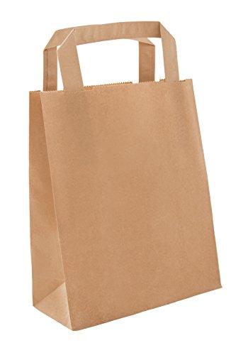 BAMI 250 Stück Papiertragetasche Papiertasche 22+11x28cm, BRAUN - 70gr/m, Einkaufstüte Tüte Henkeltasche Tragetasche Papiertüten aus Pappe Recyclebar