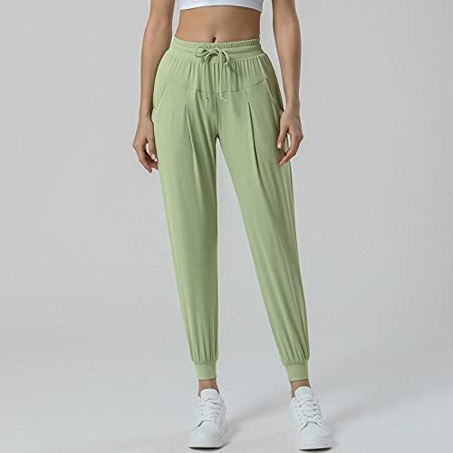 ArcherWlh Leggings Mujer,Otoño/Invierno Pantalones de Yoga de Bolsillo con Lijado de Doble Cara Pantalones de Mujer Holgados y Holgados Noveno Pantalones Deportivos elásticos-Azur_Metro