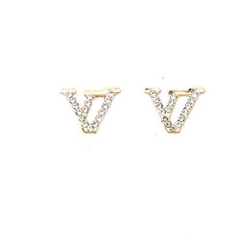 金桥Pendientes de diamantes letra V pendientes de tendencia de moda para hombres y mujeres