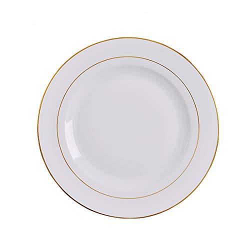 QINGGANGLING999 Placa de Cena de Uso Familiar de 10 Pulgadas, Placa de Aperitivo de Oro de cerámica para Catering, Filete clásico, Pasta de la Placa de Servir, 4pc
