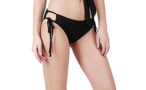 Jaanshi Women Black Poly Spandex Tie Knot Bikini Set- (Free Size)