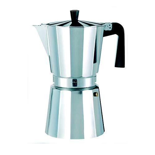 Oroley - Cafetera Italiana New Vitro | Aluminio | Incluye 9 Tazas | Cafetera Vitrocerámica, Fuego y Gas | Estilo Tradicional