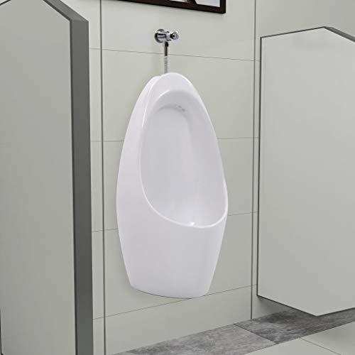 vidaXL Wall Mounted Urinal with Flush System Ceramic