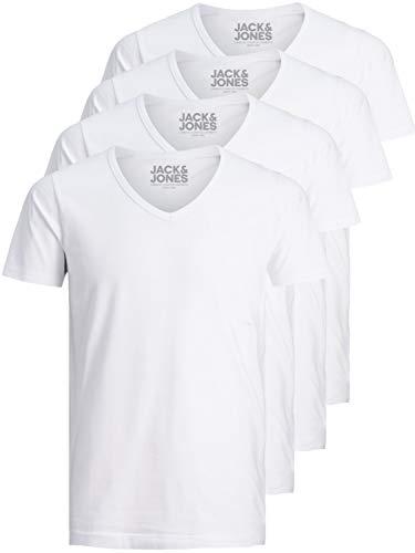 Jack and Jones Herren T-Shirt Basic V-Ausschnitt 4er Pack Einfarbig Slim Fit In Weiß Schwarz Blau (M, 4er Pack Weiß)