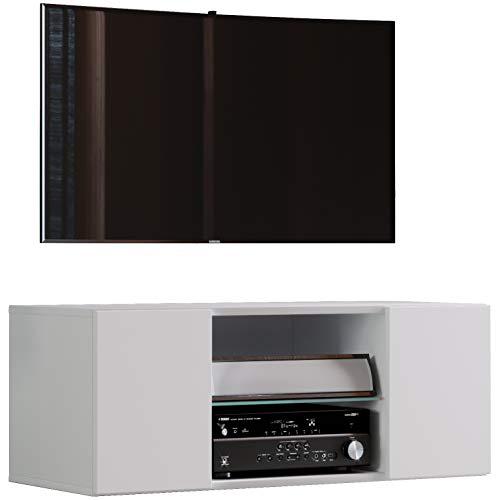 VCM TV Schrank Lowboard Tisch Board Fernseh Sideboard Wandschrank Wohnwand Holz Weiß 40 x 95 x 36 cm