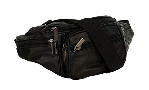 Piotrstrade Damen Herren Leder Hüfttasche Gürteltasche Bauchtasche Doggy Bag mi 4 Fächern und verstellbaren Gürtel Nappaleder Schwarz