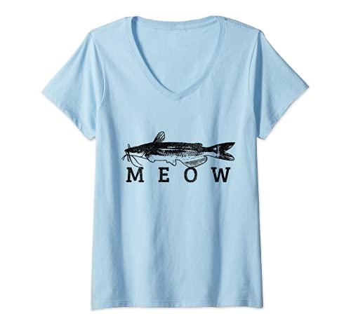 Mujer Bagre Meow Funny Catfishing Pesca Pesca Pescador Regalo Camiseta Cuello V