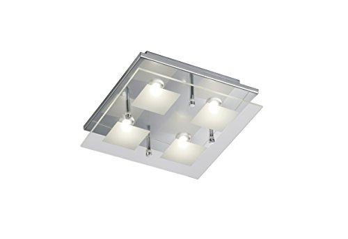 Trio Leuchten LED-Deckenleuchte chrom, Glas klar / satiniert 627910406 [Energieklasse A+]
