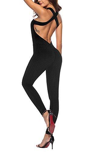 OEAK Damen Sport Jumpsuit Rückenfrei Yoga Bodysuit Overall Gefaltet Leggings Sporthosen Bandage Playsuits Jogging Strampler Hosenanzug Trainingsanzug