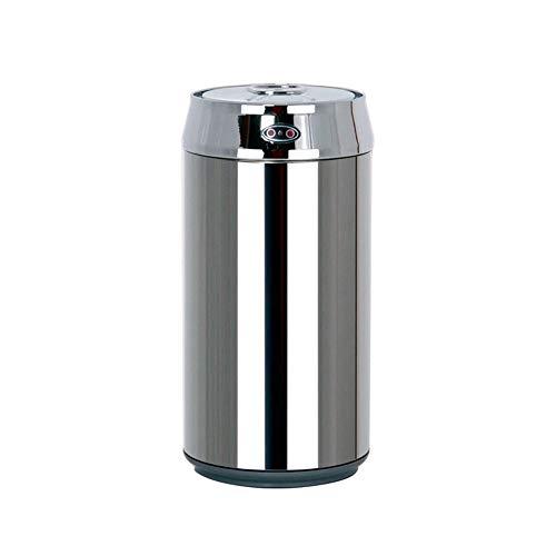 CMmin Miilleimer Abfalleimer - Induktions-Abfalleimer Edelstahl Smart Home Mode Kreative Küche Wohnzimmer Desktop-Miniwanne, Silber