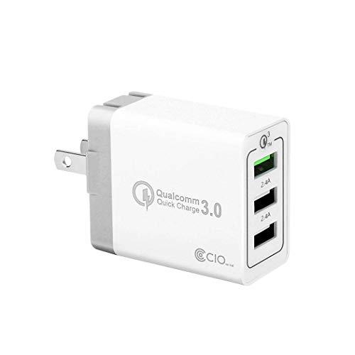 【2019年版】CIO USB 充電器 QC3.0 ACアダプター USB コンセント クイックチャージ 急速充電 3ポート 30W QualComm QuickCharge3.0 スマホ充電器 携帯充電器 iPhone Galaxy Xperia Huawei iPad タブレット (ホワイト)